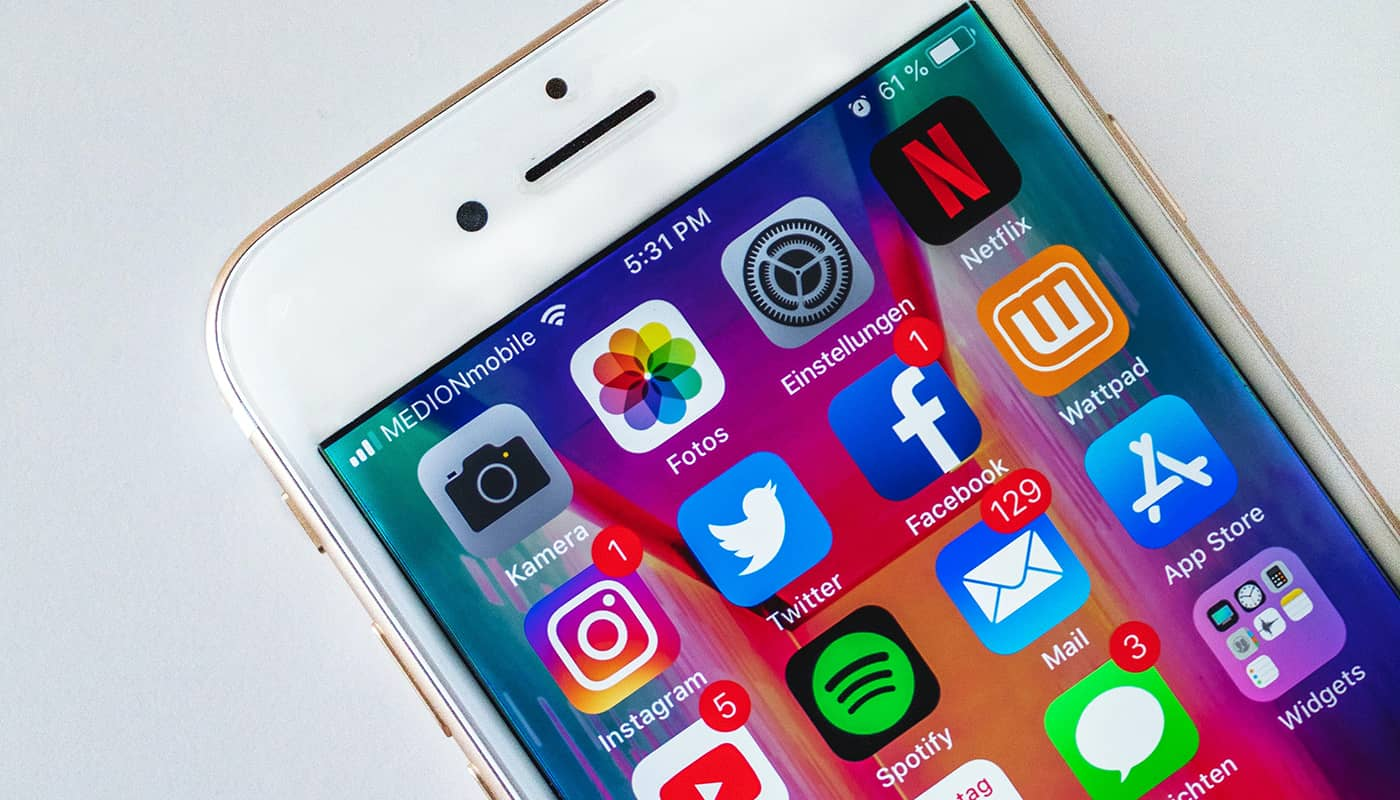 A picture of an iPhone with the apps showing.