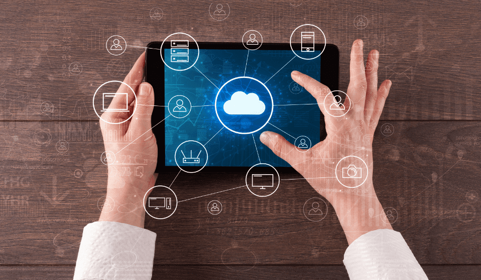 Man using the cloud on a tablet